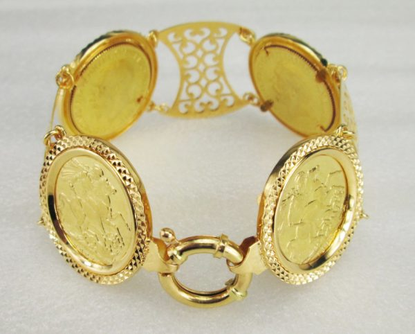 21 K Yellow Gold Coin Bracelet English Lira
