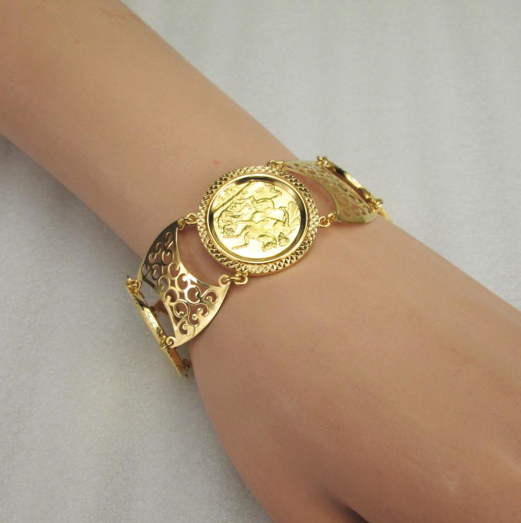 21 K Yellow Gold Coin Bracelet English Lira Nouri Brothers